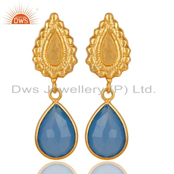 14K Gold Plated Handmade Beautiful Carving Blue Chalcedony Bezel Brass Earrings