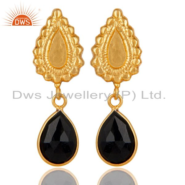 14K Gold Plated Handmade Beautiful Carving Black Onyx Bezel Drop Brass Earrings