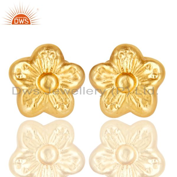 14K Yellow Gold Plated Traditional Handmade Flower Style Studs Brass Earrings