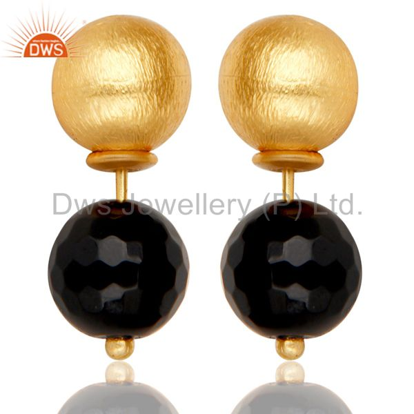 Black Onyx Two Way Stud Ball Stud Post 14 K Gold Plated Fashion Giift Earring