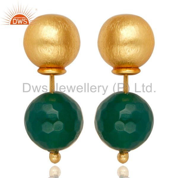 GREEN Onyx Two Way Stud Ball Stud Post 14 K Gold Plated Fashion Giift Earring