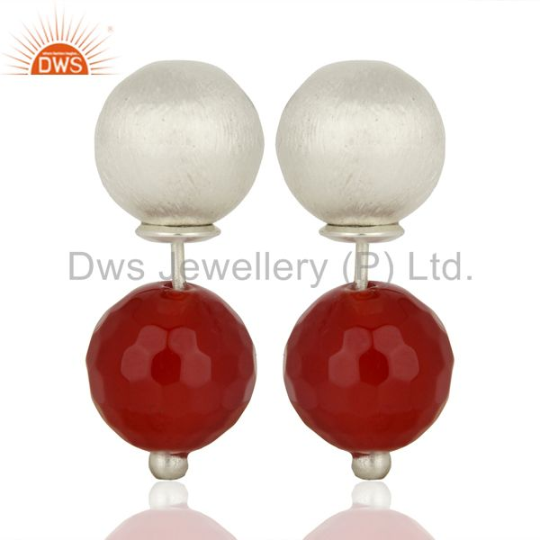 Red Onyx Two Way Stud Ball Stud Post Fashion Giift Earrings Gemstone Jewelry