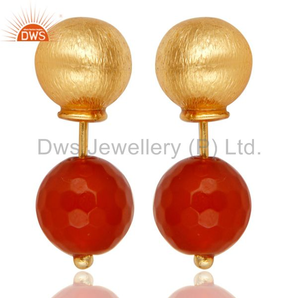 Red Onyx Two Way Stud Ball Stud Post 14 K Gold Plated Fashion Giift Earring