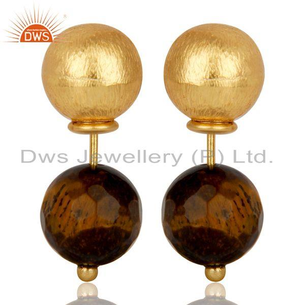Tigereye Two Way Stud Ball Stud Post 14 K Gold Plated Fashion Giift Earring
