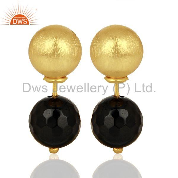 Gold Plated 925 Silver Natural Black Onyx Gemstone Stud Earrings