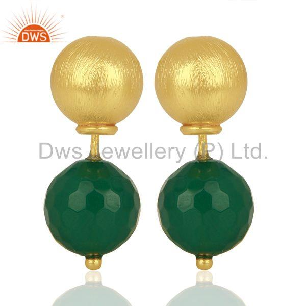 Green Onyx Studs 18K Gold Plated 925 Sterling Silver Earrings Jewelry