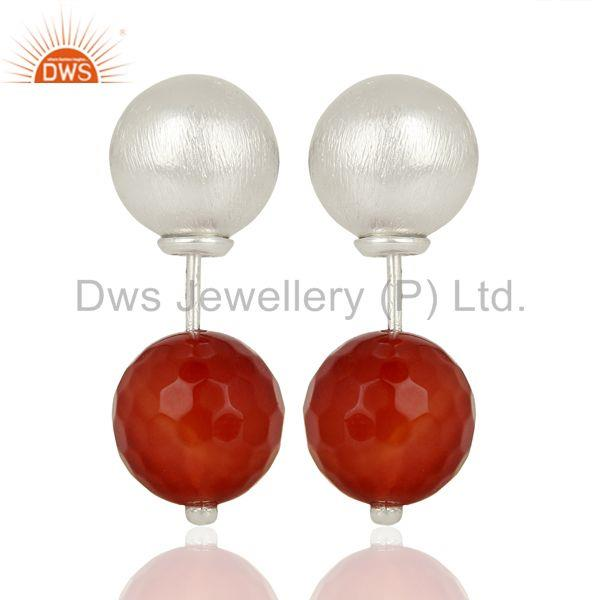 Red Onyx Studs 925 Sterling Silver Earrings Gemstone Jewelry
