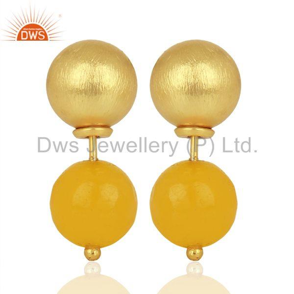 Yellow Chalcedony Studs 18K Gold Plated 925 Sterling Silver Earrings Jewelry