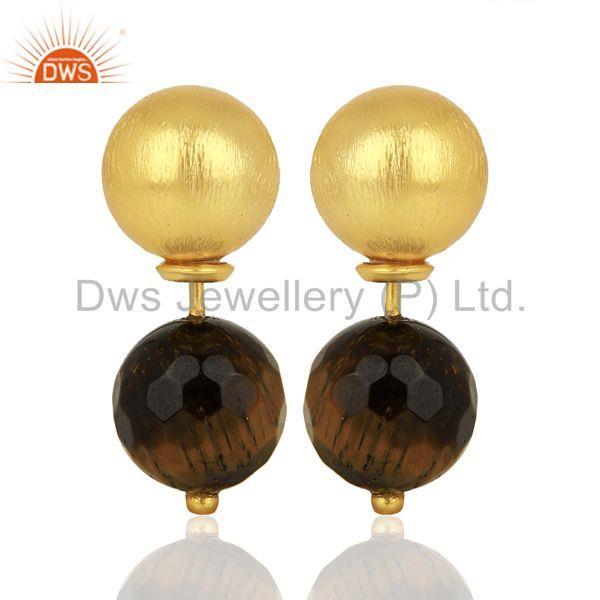 Tiger Eye Studs 18K Gold Plated 925 Sterling Silver Earrings Gemstone Jewelry