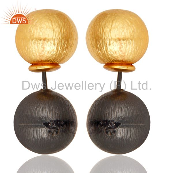 14K Gold Plated & Black Oxidized Handmade Ball Stylish Drops Brass Earrings