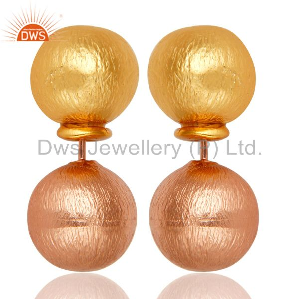 14K Yellow Gold & Rose Plated Handmade Ball Stylish Drops Brass Earrings