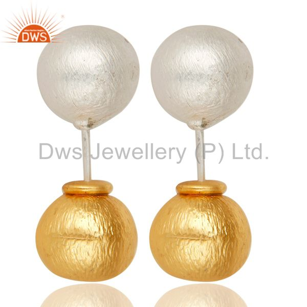 Traditional Handmade 14K Yellow Gold Plated & Silver Plated Drop Brass Earrings