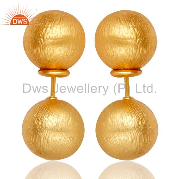 Two Way Ball Round Ball Stud Post 14 K Gold Plated Fashion Stud Gift Earring