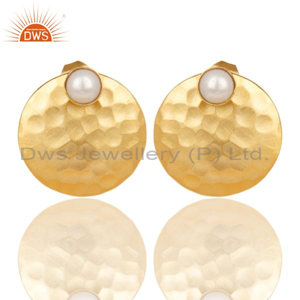 14K Gold Plated Handmade Round Textured Natural Pearl Studs Brass Earrings