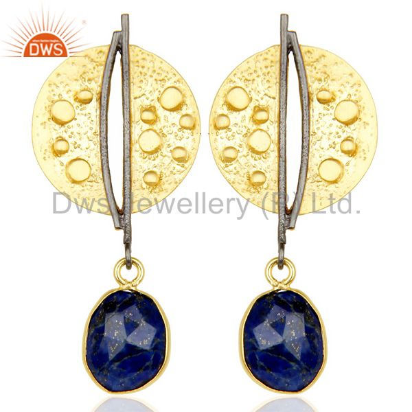 Lapis Lazul Dangle 14K Yellow Gold Plated Textured Design Brass Earrings Jewelry