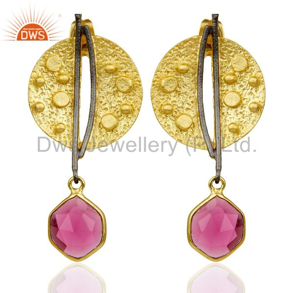 Gold Plated Texture Designer Boutique Earring Pink Fashion Jewelry