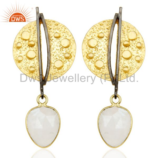 Gold Plated Texture Designer Boutique Earring Rainbow Moonstone Fashion Jewelry