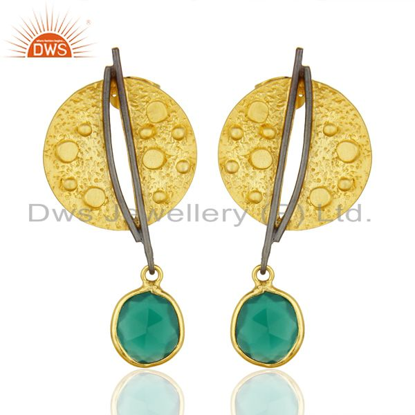 Gold Plated Texture Designer Boutique Earring Green Onyx Fashion Jewelry