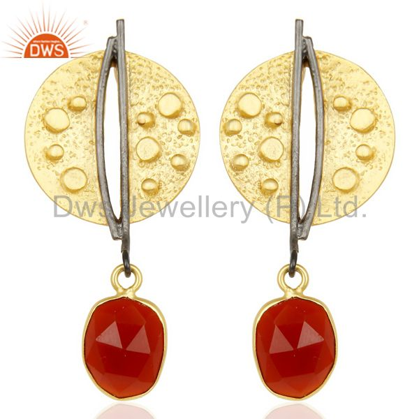 Red Onyx Dangle 14K Yellow Gold Plated Textured Design Brass Earrings Jewelry