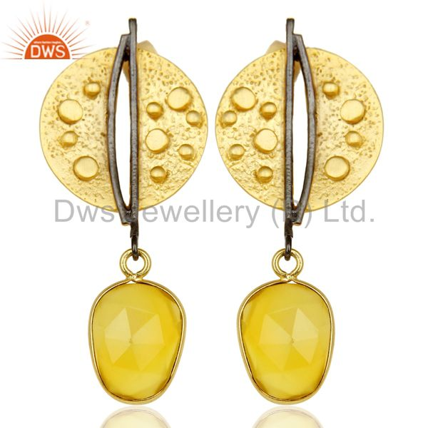14K Gold Plated Traditional Handmade Dyed Chalcedony Dangle Fashion Earrings