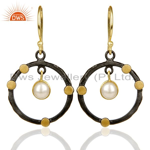 14K Gold Plated Traditional Handmade Round Fashion Pearl Drops Brass Earrings