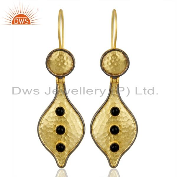 14k yellow gold plated traditional handmade black onyx drops fashion earrings