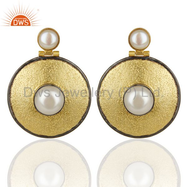 14K Yellow Gold Plated Traditional Handmade Pearl Drops Earrings Gift Jewelry