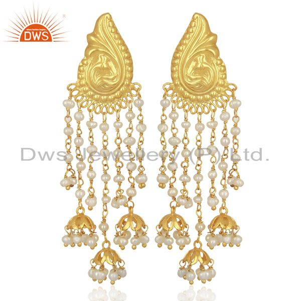 Pearl Jhumka 18K Yellow Gold Plated 925 Sterling Silver Earrings Jewelry