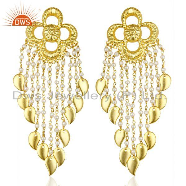 Pearl Chandelier 18K Gold Plated Sterling Silver Earrings Traditional Jewelry