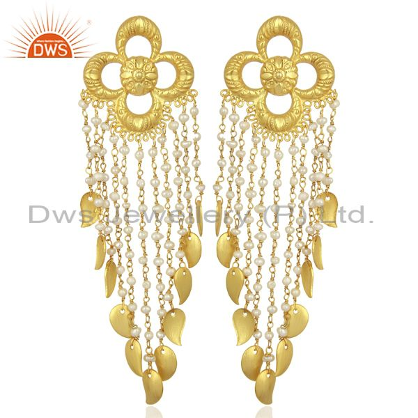 Handmade Flower Design Pearl 14K Gold Plated Sterling Silver Chandelier Earring