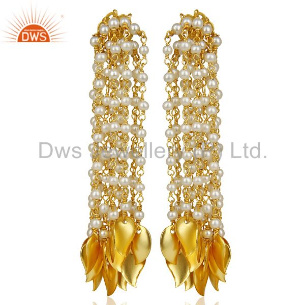 Pearl Bead Chain Tassel 18k Gold Plated Chandelier Earring Brass Jewellery