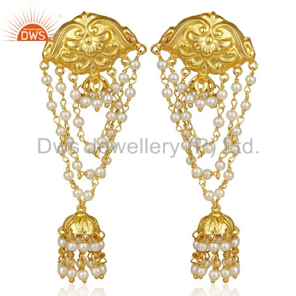 Pearl Strings 18k Gold Plated Traditional Brass Jewellery Jhumka Earrings