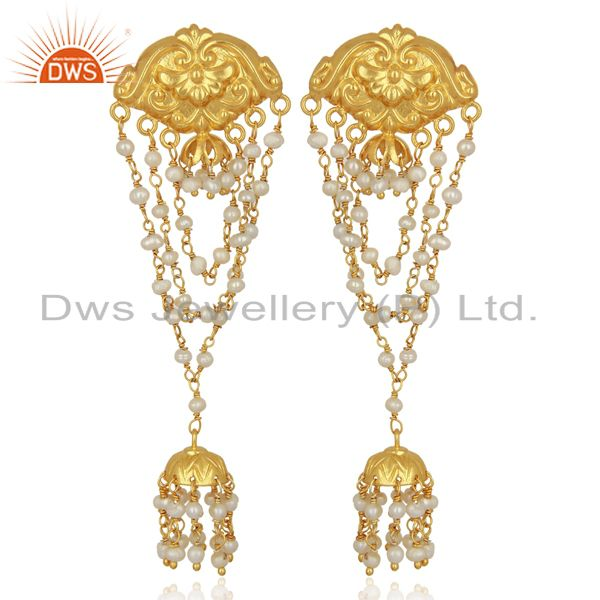 Pearl Strings 925 Sterling Silver 18k Gold Plated Traditional Jewellery Earrings