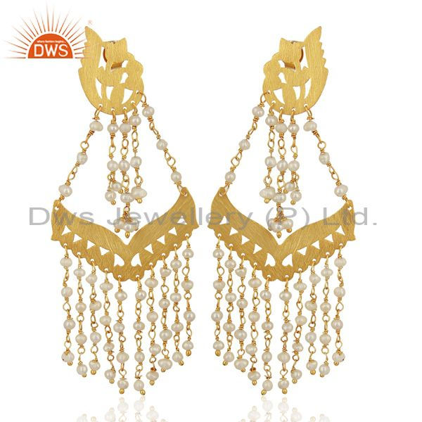 Pearl Strings Sterling Silver 18k Gold Plated Traditional Chandelier Earrings