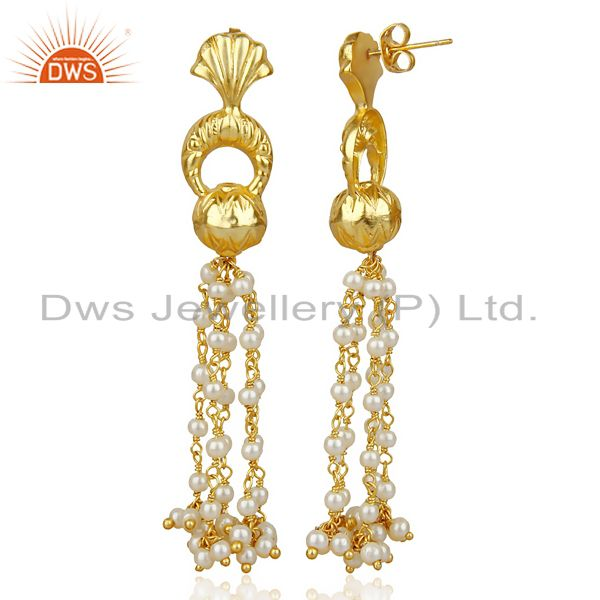 14K Gold Plated Natural Pearl Traditional Chandelier Earrings Fashion Jewelry