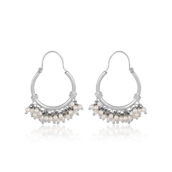 Pearls set fine sterling silver traditional design earrings