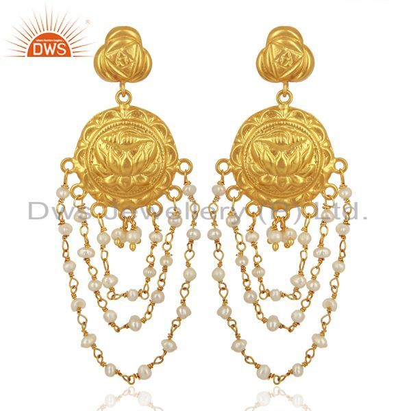 Draping Pearls 925 Sterling Silver 14K Yellow Gold Plated Chandelier Earrings