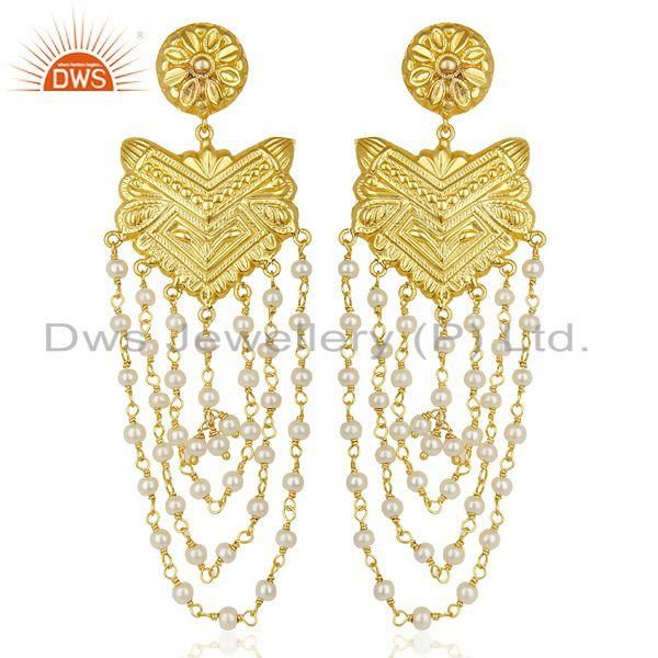 14K Yellow Gold Plated Natural Pearl Party Wear Jhumka Earrings Jewelry