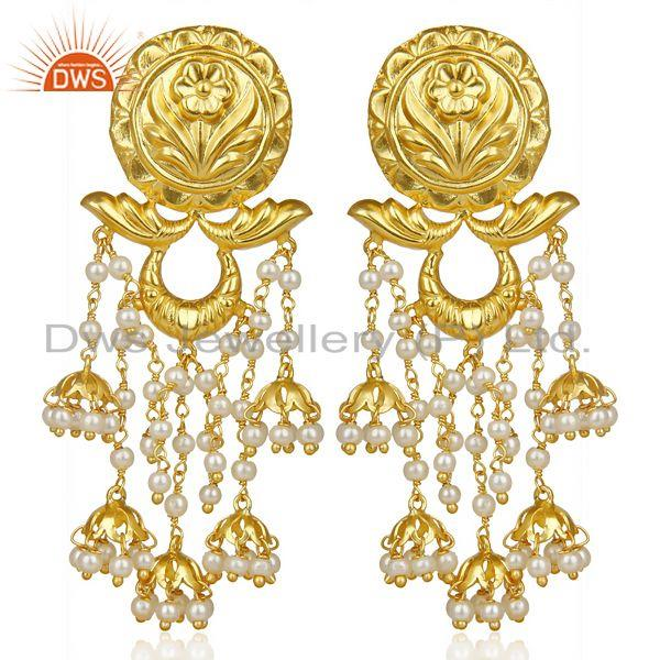 Pearl Jhumka 18K Gold Plated Brass Earrings Traditional Jewellery
