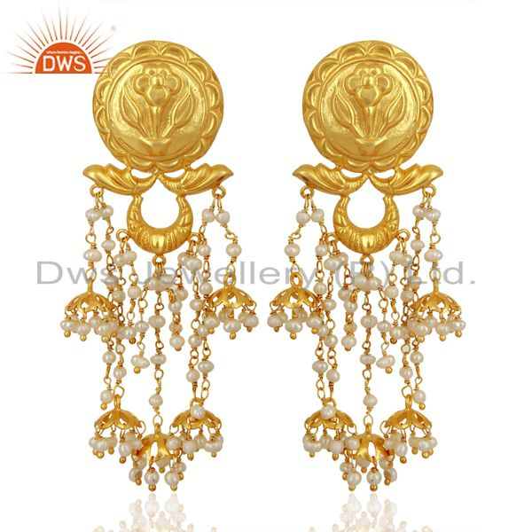 Pearl Jhumka Sterling Silver 18K Gold Plated Earrings Traditional Jewellery