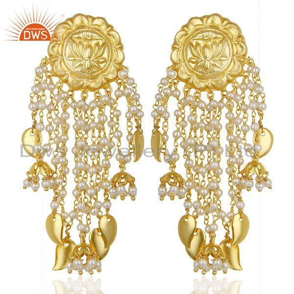 14K Gold Plated Handmade Lotus Carving Pearl Chandelier Fashion Earring Jewelry