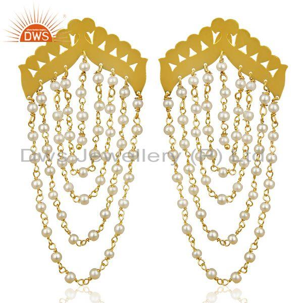 Pearl Chandelier 18K Yellow Gold Plated Fashion Earrings Traditional Jewelry