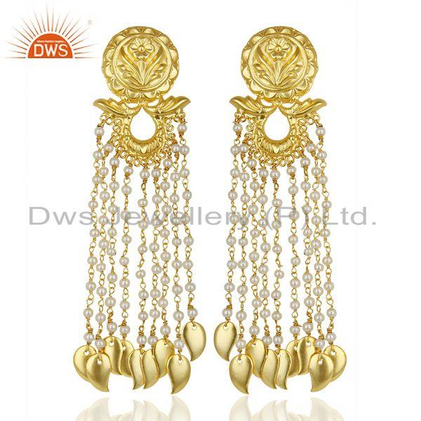 14K Gold Plated Flower Carving Natural Pearl Chandelier Fashion Earring Jewelry