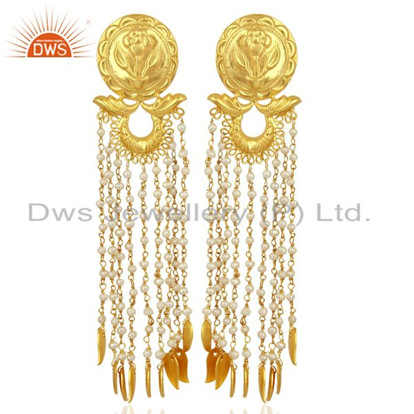 Pearl Chandelier 18K Gold Plated Sterling Silver Traditional Earrings Jewelry