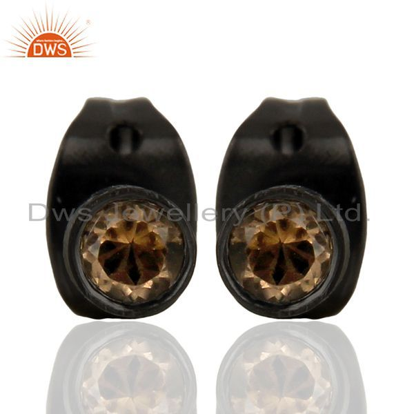 Smoky Quartz Studs Black Rhodium Mini Earrings Fashion Jewelry