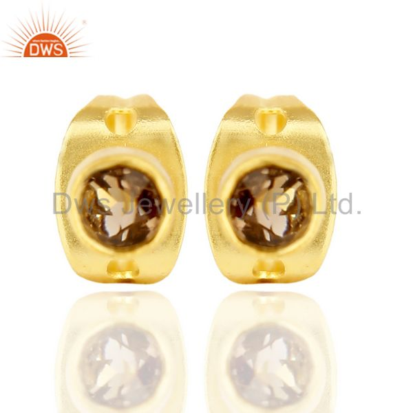Smoky Topaz Tiny 3MM Post 14 K Gold Plated Fashion Earring,Quete Earrings