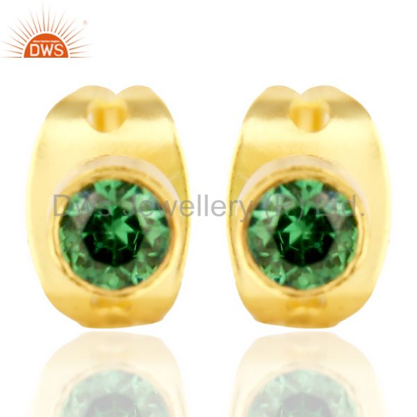 Green Zircon Tiny 3MM Post 14 K Gold Plated Fashion Earring,Quete Earrings