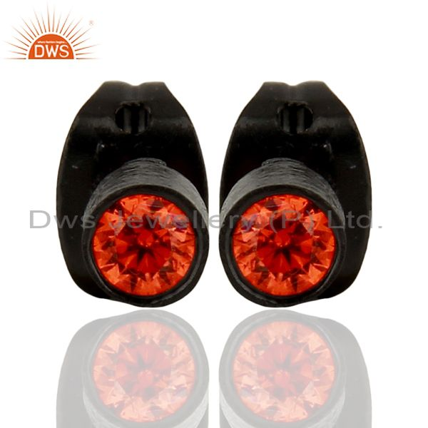 Black Rhodium Plated Orange CZ Gemstone Brass Stud Earrings