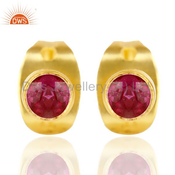 Red Zircon Tiny 3MM Post 14 K Gold Plated Fashion Earring,Quete Earrings