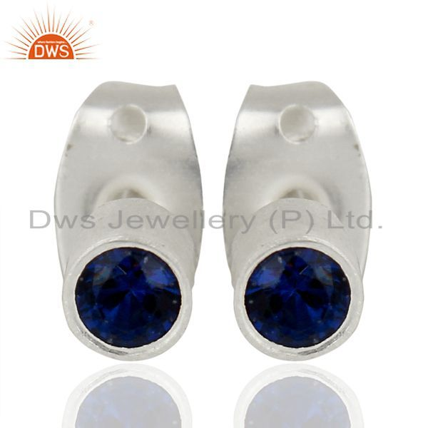Zircon Blue Sapphire Studs Silver Plated Mini Earrings Fashion Jewelry